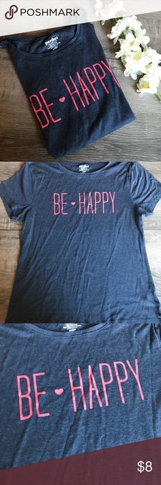 "Old Navy • be happy tee Super soft and cozy tee perfect with leggings! Dark blue/gray heathers with pink writing. Some minor pilling. Bust 23"" length 28"". Old Navy Tops Tees - Short Sleeve"