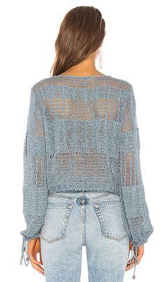 Crochet Shirt Tularosa Willow Pullover in Blue Sage T-shirt Au Crochet, Cardigan Au Crochet, Moda Crochet, Crochet Shirt, Crochet Jacket, Hoodie Pattern, Cardigan Pattern, Crochet Bodycon Dresses, Summer Knitting