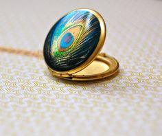 The Delicate Peacock Locket  Vintage by verabel on Etsy, $30.00