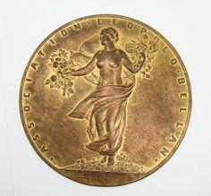 Antique-c1900-CH-Pillet-Leopold-Bellan-Art-Nouveau-Nude-Bronze-Dore-Plaque