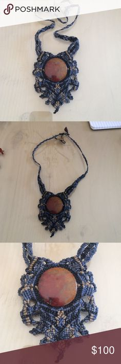 Agate Macrame necklace Handcrafted/handwoven in Mexico Jewelry Necklaces