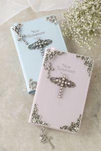 Jeweled Faux Pearl Boy or Girl Baby's Tiny New Testament Bible KJV $85.00 www.celebrateyourfaith.com