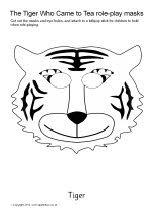 The Tiger Who Came to Tea role-play masks - black and white (SB7706) - SparkleBox