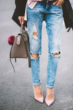 ripped jeans and pink heels