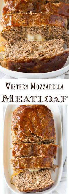 Chilly fall weather calls for hearty comfort food and this delicious meatloaf is one that the whole family will love! Stuffed with mozzarella and topped with barbecue sauce it makes enough for three meals so that you can freeze ahead and pull it out on Popular Recipes, Great Recipes, Dinner Recipes, Favorite Recipes, Delicious Recipes, Easy Recipes, Dinner Ideas, Breakfast Recipes, Entree Recipes
