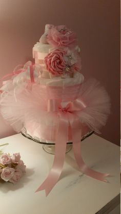 Girls Diaper Cake Shabby Pink With Bling by ItsUpInTheAttic