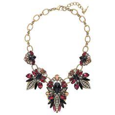 Fair Isle Statement Necklace | Chloe + Isabel jet black + marsala resin, black diamond, topaz + clear crystal