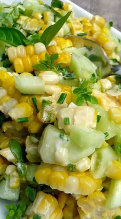 Basil Chive Cucumber & Corn Salad - just a note: Use Veganaise instead of Mayo to make it vegan and in my opinion even tastier. Basil Chive Cucumber & Corn Salad - just a note: Use Veganaise instead of Mayo to make it vegan and in my opinion even tastier. Cucumber Recipes, Vegetable Recipes, Salad Recipes, Vegetarian Recipes, Cooking Recipes, Healthy Recipes, Coctails Recipes, Corn And Cucumber Salad Recipe, Dishes Recipes
