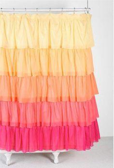 Shabby French Chic Ruffled Ombre Yellow Orange Pink Ruffle Bath Shower Curtain