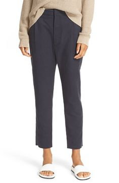Free shipping and returns on Vince Slouchy Slim Ankle Trousers at Nordstrom.com. Linen-enriched twill provides soft structure to pleat-front pants designed to taper to ankle-baring hems.