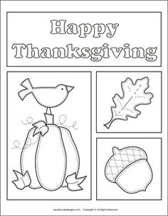 Free Thanksgiving coloring pages - autumn, fall coloring sheets - pumpkin, crow, leaf, acorn