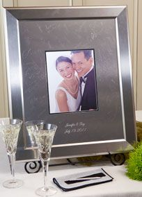 The most exciting trend for wedding guestbook alternatives! These high quality signature frames are made from a beautiful, highly polished silver alloy. When signed with the included, easy to use, non-mechanical Signature Engraving Scribe signatures will last forever and become a treasured conversation piece complimenting any home decor. Signature frames make a great alternative to the traditional paper guest book or the outdated cardboard signing board. Professional engravers will…