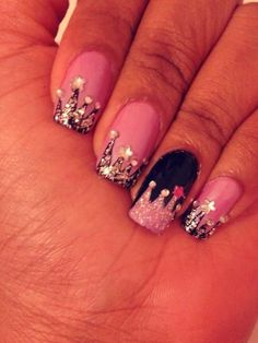 crown nail art; only for a princess