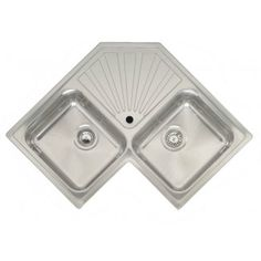 £250   Montreal Elegance Inset Double Bowl Corner Kitchen Sink with Centre Drainer