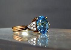 Mayors 14k Yellow Gold Ring Blue Topaz and Diamonds Size 8.5 Marked Mayors 14k 585 DanPickedMinerals