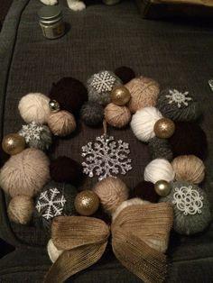 Wool ball wreath