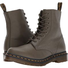 Dr. Martens Pascal 8-Eye Boot (Khaki Virginia) Women's Lace-up Boots (8.130 RUB) ❤ liked on Polyvore featuring shoes, boots, ankle boots, slip resistant boots, lace up boots, laced up ankle boots and short lace up boots