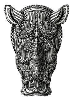 Rhinoceros. Super Detailed Ink Animal Drawings. By Alex Konahin.