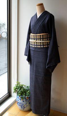【袷】紅花、新田間道と格子柄開き名古屋帯 #kimono #着物 | ちぇらうなぼるた雑記帳