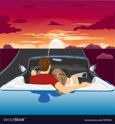 Couple in hug watching the sunset together vector image on VectorStock Illustration Art Drawing, Couple Illustration, Sunset Canvas, Sunset Art, Dark Art Drawings, Cartoon Drawings, Bath Couple, Couple In Car, Sunrise Drawing