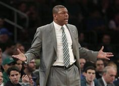 Boston Celtics head coach Doc Rivers reacts during the first half of the NBA basketball game against the New York Knicks at Madison Square Garden Sunday, March 31, 2013 in New York. No answer for Knicks!