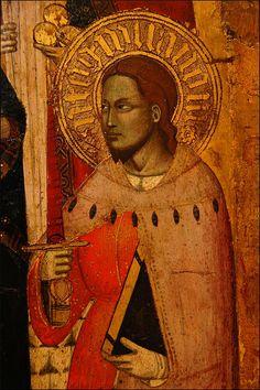 Jacopo da Firenze - Madonna col Bambino fra i santi Antonio abate, Giovanni Battista, Giuliano e Nicola di Bari (dettaglio) - 1390-1395 - Museo Bandini, Fiesole