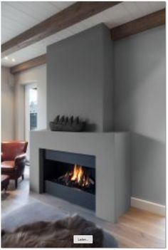 The sort of look for the fireplace that we're thinking of for the living room. We would I think have a Stuv or sth similar. Living Room Decor Fireplace, Modern Fireplace, Fireplace Mantle, Fireplace Surrounds, Fireplace Design, Fireplace Inserts, Family Room, House Design, Interior Design