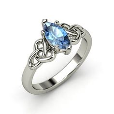 Marquise Blue Topaz Sterling Silver Ring | Hillary Ring | Gemvara