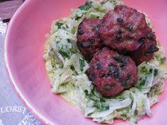 Meine Low Carb Rezepte: Bärlauch-Meatballs auf cremigem Bärlauch-Kohlrabi - Mehr Bärlauch geht nicht in einem Essen.