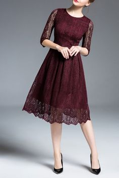 Badel Lece Wine Red Lace Fit And Flare Dress | Knee Length Dresses at DEZZAL