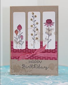 Stampin' Pals: Field Flower Fantasy CQC [used framelit from Chalk Talk for each panel] Birthday Cards For Women, Handmade Birthday Cards, Greeting Cards Handmade, Cute Cards, Diy Cards, Your Cards, Karten Diy, Stamping Up Cards, Flower Cards