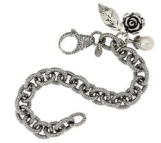 Sterling Silver Textured Rolo Link Bracelet w/Charms by Or Paz
