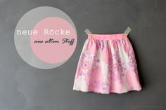Mädchenrock selber nähen, sewing with vintage fabric, skirt for girls by knobz