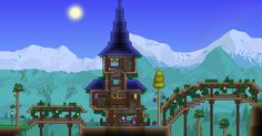 Wizard House - Love the roof Terraria House Design, Terraria House Ideas, Terraria Tips, Terraria Castle, Building Furniture, Minecraft Buildings, Minecraft Stuff, Biomes, Girls Be Like