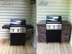 Home exterior faux stone is used creatively here to upgrade the side stations of this outdoor grill.