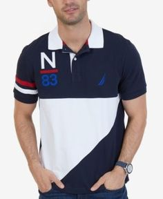 Nautica Men's Heritage Colorblocked Polo, A Macy's Exclusive Style - Blue XXL Polo Rugby Shirt, Mens Polo T Shirts, Polo Tees, Golf Shirts, Camisa Polo, Polo Shirt Design, Ralph Lauren, Golf Outfit, Swagg