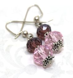 Pink and Wine Colored Crystals and Bali Silver Earrings   AyaDesigns - Jewelry on ArtFire