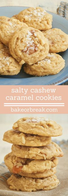 Rich caramel and crunchy cashews add big flavor to these Salty Cashew Caramel Cookies. The sprinkle of salt on top makes them even better! - Bake or Break ~ www.bakeorbreak.com