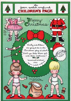 1981 Christmas Paper Dolls Page by Joan Walsh Anglund Merry Christmas Santa, Merry Christmas And Happy New Year, Christmas Paper, Vintage Christmas, Christmas Crafts, Christmas Images, Paper Toys, Paper Crafts, Joan Walsh