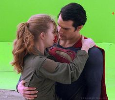 Henry Cavill and Amy Adams - Man of Steel DVD extras - Face it, gals, we ALL want to be in his arms when Henry, I mean *ahem* Superman is around! ;)