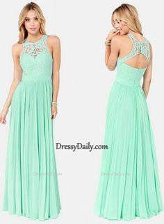 New Style Mint Bridesmaid Dresses Cheap 2015 Hot Sale Tank Straps Lace Jewel Neck Evening Gowns Floor Length Formal Long Chiffon Prom Dress - Bridesmaid Dresses - Weddings
