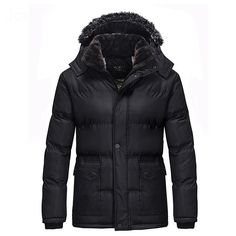 a7f87061d7d Mens Winter Thick Fleece Hooded Black Warm Parka Jacket - Banggood Mobile  Fall Jackets