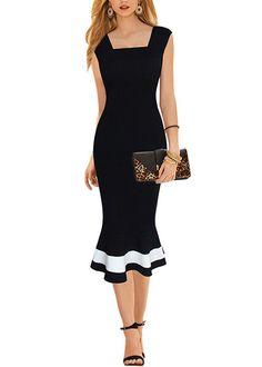 Compre Vestido Midi Tubinho Com Babado Peplum - 3 cores | UFashionShop