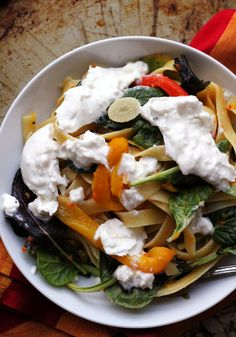 Linguine with Burrata, Greens, and Sweet Pepper Sauce @joanneeatswell