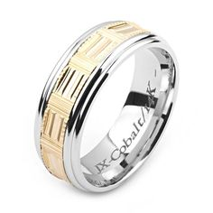 Men's Cobalt Ring Wide Two-Tone Cobalt & Yellow Gold (Solid, not Plated) Wedding Band Fashion Ring Custom Jewelry Manufacturers for all types of jewelry! Cobalt, Palladium, Titanium Rings, Rose Gold Engagement Ring, Boho Rings, Plaque, White Gold Rings, Wedding Bands, Gold Wedding