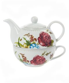 Ganz Kitchen Home Tea Garden Collection Teapot & Cup - Tea for One Set Chocolate Pots, Chocolate Coffee, Mad Hatter Day, Tea For One, Tea Pots, Floral Design, Home And Garden, Teacup, Tableware