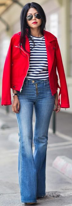 Red jacket, blue and white striped top, and jeans Source: walkinwonderland.com