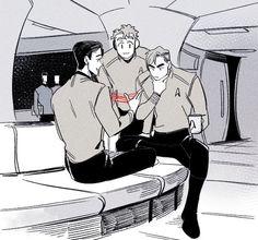 James T. Kirk, Pavel Chekov, Hikaru Sulu    Star Trek AOS