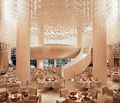 MIX restaurant...Dining in the main dining room of miX is like dining inside a champagne bottle, as a 24-foot chandelier made of 15,000 glass spheres cascades down from the ceiling, giving the impression of being surrounded by a fizzy concoction.
