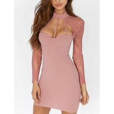 16e29e52f7b85 Pink High Neck Cut Out Strap Detail Lace Sleeve Bodycon Dress ( 35) ❤ liked
